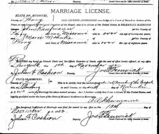 Kaufmann Mahnke marriage license