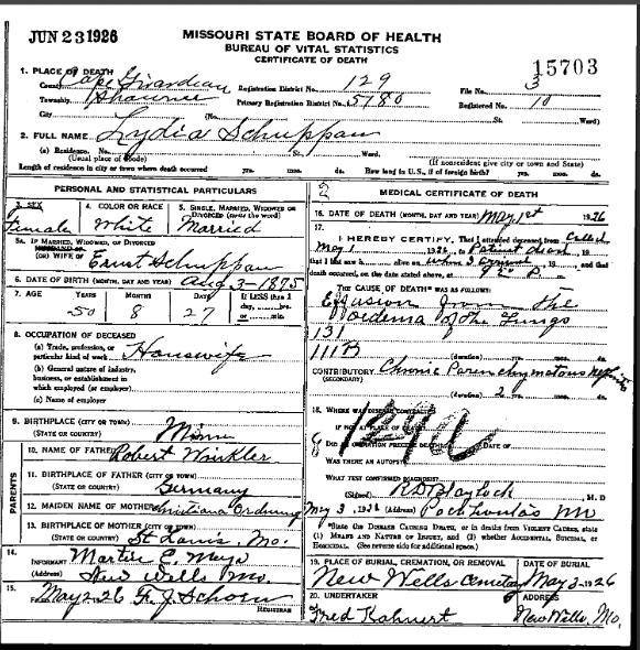 Lydia Schuppan death certificate