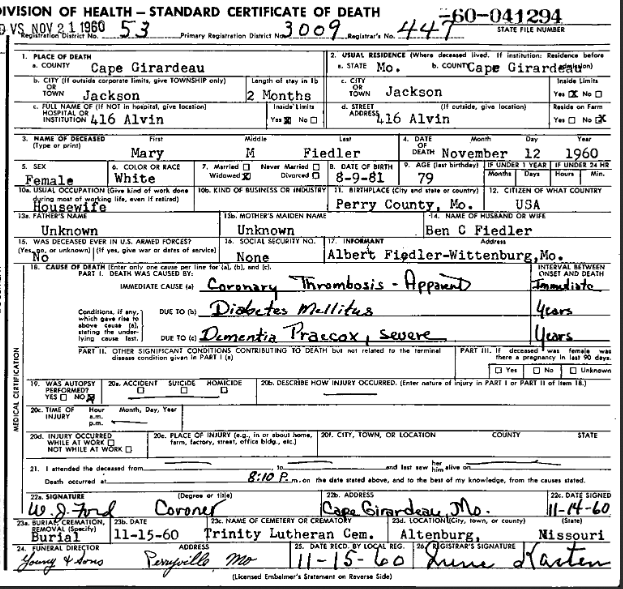 Mary Fiedler death certificate