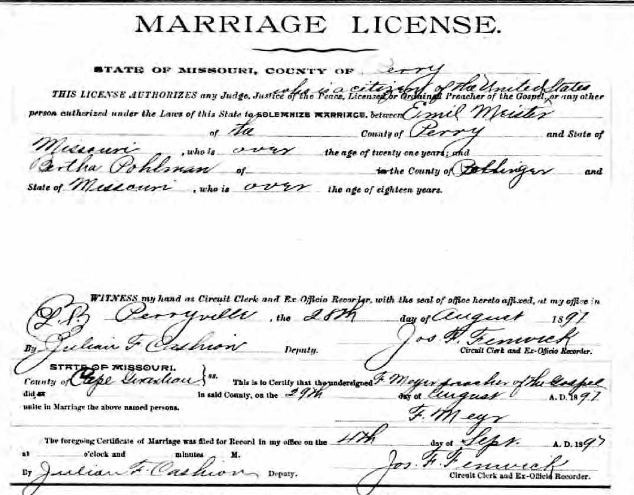 Meister Pohlmann marriage license