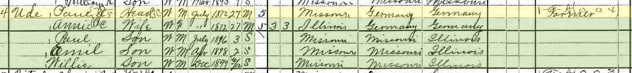 Paul Ude 1900 census Byrd Township MO