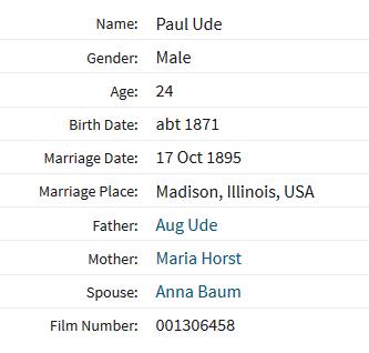 Paul Ude Baum Illinois marriage record 1895
