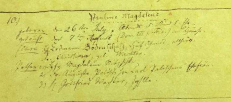 Pauline Bodenschatz baptism record Immanuel Altenburg MO