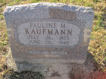 Pauline Kaufmann gravestone Trinity Altenburg MO