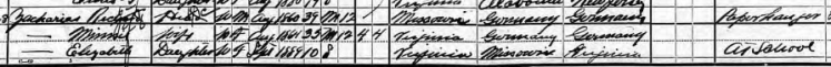 Richard Zacharias 1900 census Richmond VA