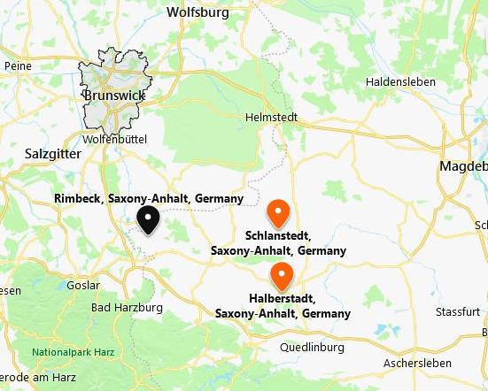 Schlanstedt Halberstadt Braunschweig map