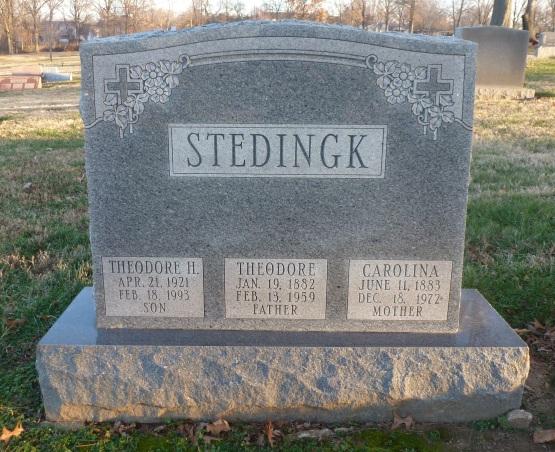 Theodore and Carolina Stedingk gravestone St. Trinity St. Louis MO