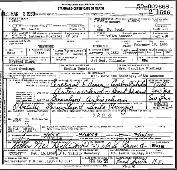 Theodore Stedingk death certificate