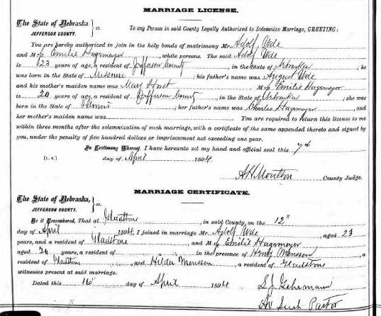 Ude Hagemeyer Nebraska marriage license