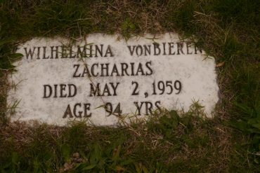 Wilhelmine Zacharias gravestone Oakwood Richmond VA