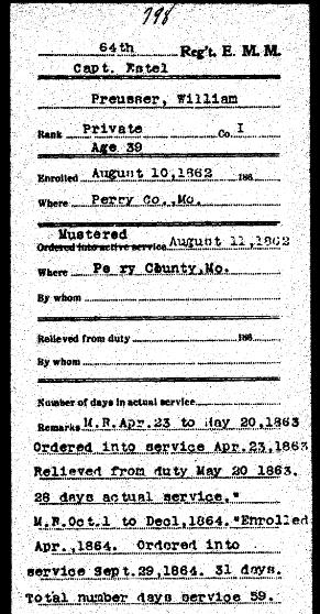 William Preusser Civil War military record